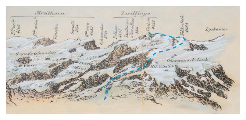 Castore - Monte Rosa - Lyskamm - Breithorn - Ghiacciaio di Felik - Ghiacciaio di Verra