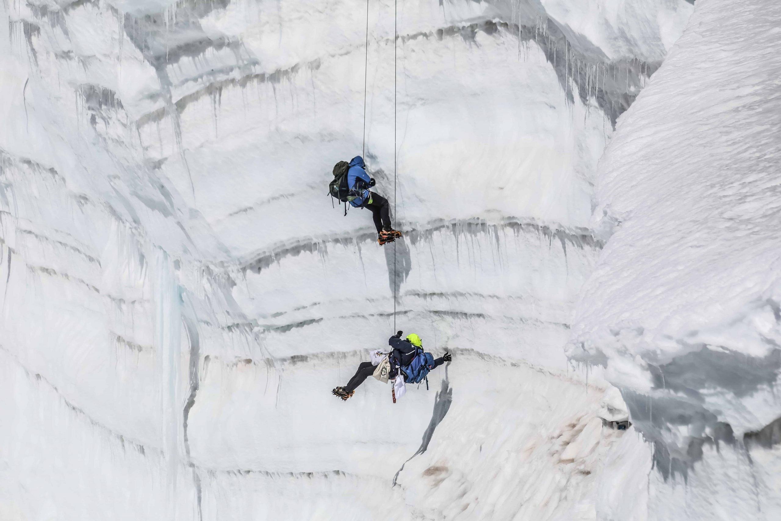 Ghiacciaio del Lys - Monte Rosa - Colle Vincent - calata - seracco - paranco